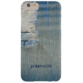 Jean azul fresco y divertido rosca el monograma de funda para iPhone 6 plus barely there