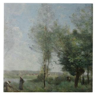 Jean-Baptiste-Camille Corot - Souvenir of Coubron Ceramic Tile
