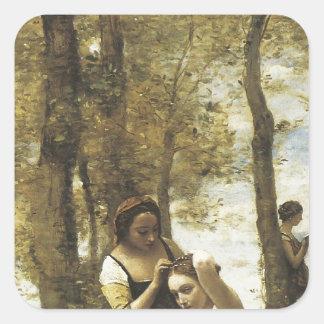 Jean-Baptiste-Camille Corot The Toilette Square Sticker