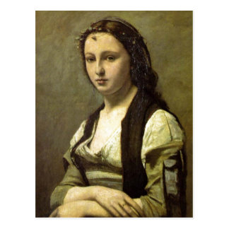 Jean-Baptiste-Camille Corot The Woman with a Pearl Postcard