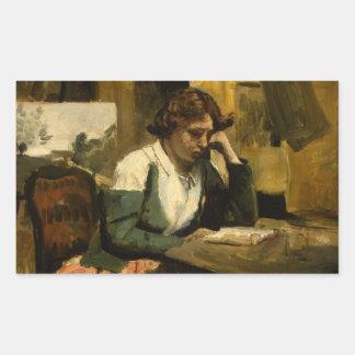 Jean-Baptiste-Camille Corot - Young Girl Reading Rectangular Sticker