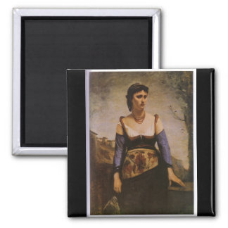 Jean-Baptiste-Camilo Corot - Agostina 1866 Imán Cuadrado