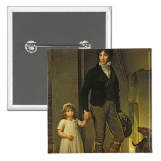 Jean-Baptiste Isabey  and his Daughter 2 Inch Square Button