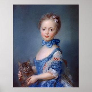Jean-Baptiste Perronneau: Chica con el gatito Póster