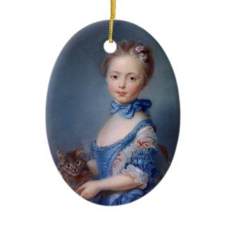 Jean-Baptiste Perronneau: Girl with Kitten ornament