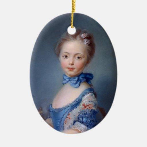 Jean-Baptiste Perronneau: Girl with Kitten Christmas Tree Ornaments