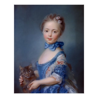 Jean-Baptiste Perronneau: Girl with Kitten Poster