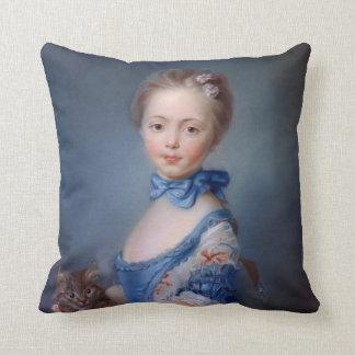 Jean-Baptiste Perronneau: Girl with Kitten Throw Pillow