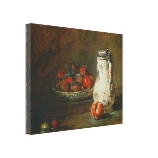 Jean-Baptiste Simeon Chardin - A Bowl of Plums Canvas Print