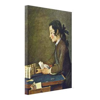 Jean-Baptiste-Simeon Chardin - The House of Cards Canvas Print