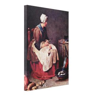Jean-Baptiste-Simeon Chardin - The turnip cleaner Canvas Print