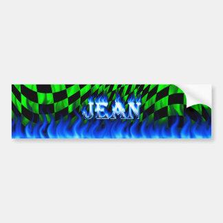 Jean blue fire and flames bumper sticker design.