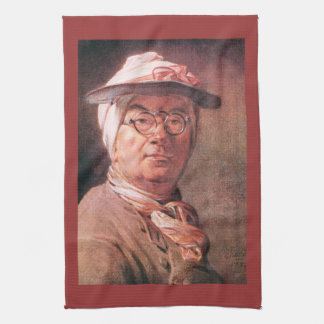 Jean Chardin - autorretrato con los vidrios Toalla De Cocina