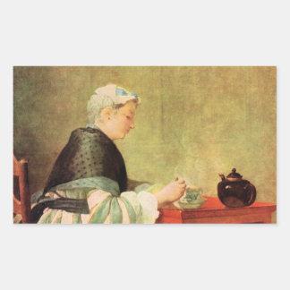 Jean Chardin - bebedor del té Pegatina Rectangular