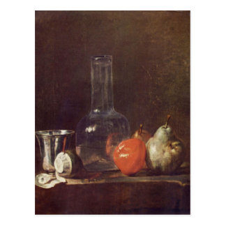 Jean Chardin - Still Life with Glass and fruits Postcard