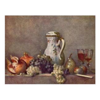 Jean Chardin - Still life with porcelain jug Postcard