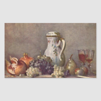 Jean Chardin - Still life with porcelain jug Rectangular Sticker