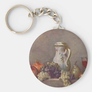 Jean Chardin- Still life with porcelain teapot Keychain