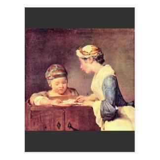 Jean Chardin - The young teacher Postcard