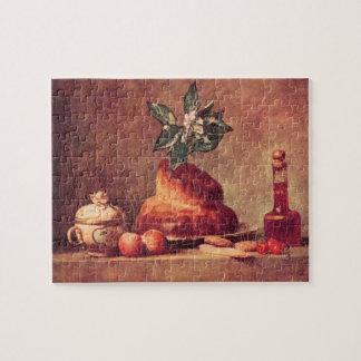 Jean Chardin - todavía vida con el bollo de leche Rompecabezas