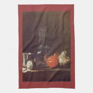 Jean Chardin - todavía vida con el vidrio y las fr Toalla De Cocina