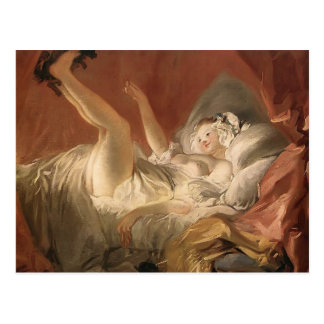 Jean Fragonard- Young Woman Playing with a Dog Postcard