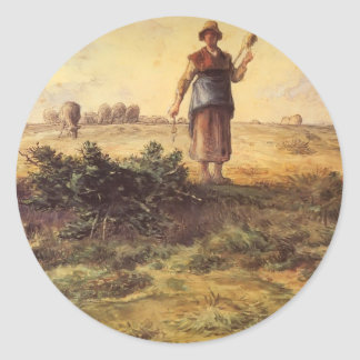 Jean-Francois Millet - A Shepherdess And Her Flock Round Sticker