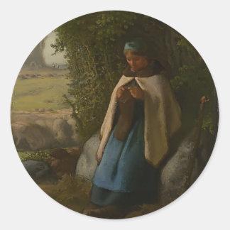 Jean-Francois Millet- Shepherdess Seated on a Rock Sticker