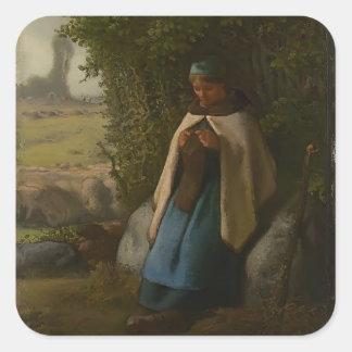 Jean-Francois Millet- Shepherdess Seated on a Rock Square Sticker