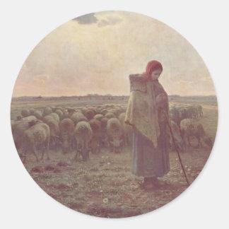 Jean-Francois Millet- Shepherdess Round Sticker