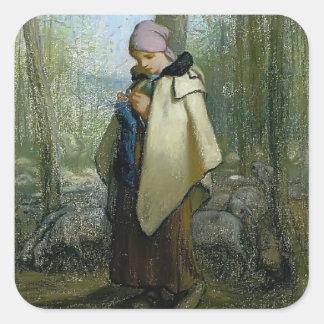 Jean-Francois Millet- The Knitting Shepherdess Square Sticker