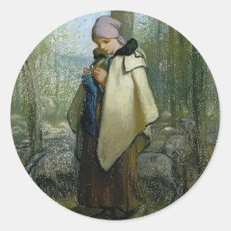 Jean-Francois Millet- The Knitting Shepherdess Sticker