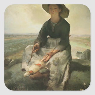 Jean-Francois Millet- The Young Shepherdess Square Stickers