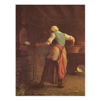 Jean-Francois Millet- Woman baking bread Postcard
