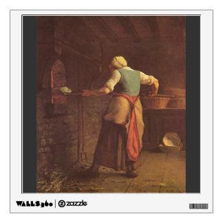 Jean-Francois Millet- Woman baking bread Room Stickers