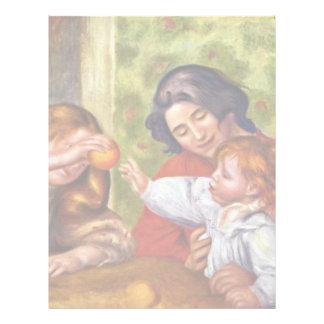 Jean Gabrielle y chica de Pierre-Auguste Renoir Membrete Personalizado