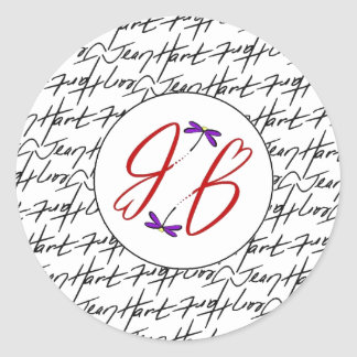 Jean Hart Artwork signature and logo Classic Round Sticker