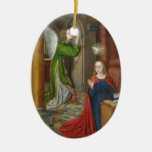 Jean Hey Annunciation Double-Sided Oval Ceramic Christmas Ornament