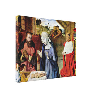 Jean Hey - Birth of Christ and Cardinal Rolin Gallery Wrapped Canvas