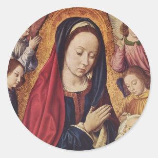 Jean Hey- la Virgen y el niño adorados por ángeles Pegatinas Redondas