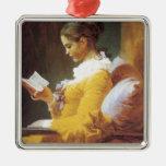 Jean-Honore Fragonard The Reader Metal Ornament