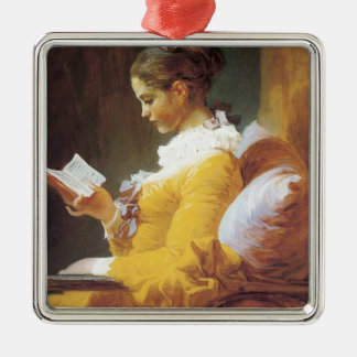 Jean-Honore Fragonard The Reader Metal Ornament