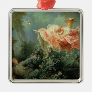 Jean-Honore Frangonard's rococo painting The Swing Silver-Colored Square Decoration
