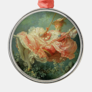 Jean-Honore Frangonard's rococo painting The Swing Silver-Colored Round Decoration