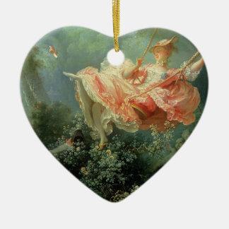 Jean-Honore Frangonard's rococo painting The Swing Ceramic Heart Decoration