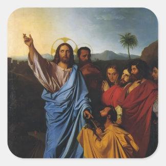 Jean Ingres- Jesús que vuelve las llaves a San Pegatinas Cuadradas