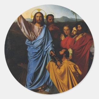 Jean Ingres- Jesús que vuelve las llaves a San Etiquetas Redondas