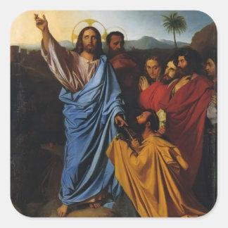 Jean Ingres- Jesús que vuelve las llaves a San Pegatinas Cuadradas Personalizadas