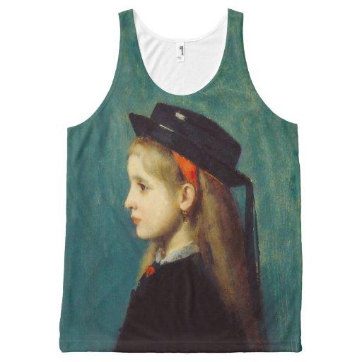 Jean-Jacques Henner - Alsatian Girl - Art Tank Top All-Over Print Tank Top Tank Tops, Tanktops Shirts