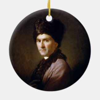Jean-Jacques Rousseau by Allan Ramsay (1766) Double-Sided Ceramic Round Christmas Ornament